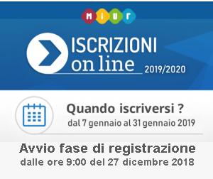 Logo Iscrizioni online a.s. 2019-2020 Quando iscriversi: dal 7 gennaio 2029 al 31 gennaio 2019. Avvio della fase di registrazione sul sito dalle ore 9 del 27 dicembre 2018