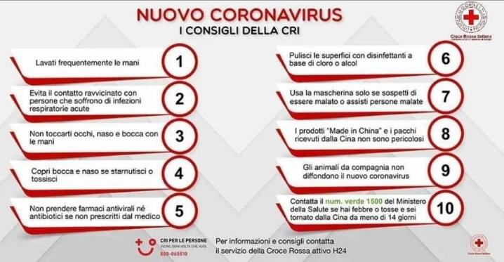 consigli della CRI per COVID-19
